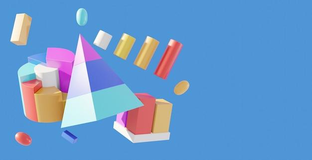3d rendering of graphs or diagram elements set