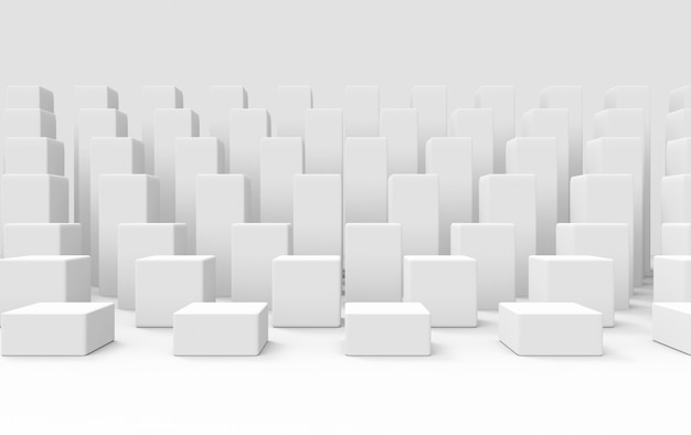 3d rendering. gray cube bar stack group on white wall design background.