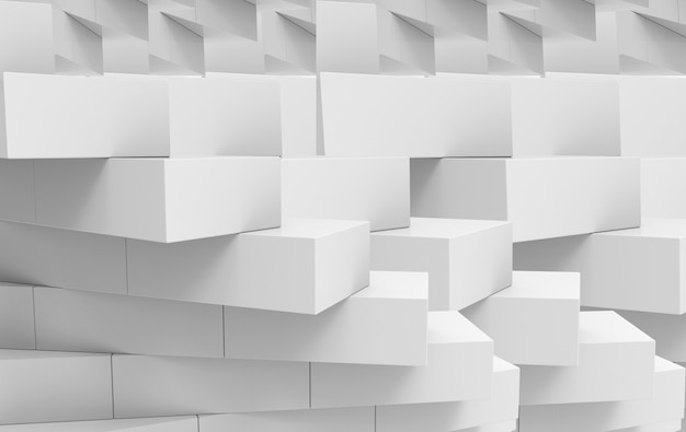 3dレンダリング。灰色の立方体レンガスタック壁の背景。