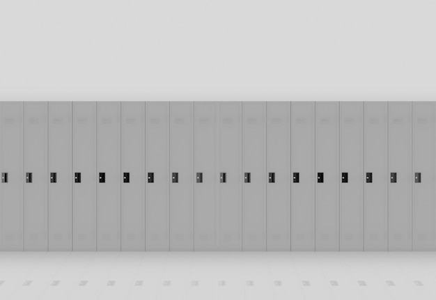 3d rendering. gray metal lockers row on light wall background.