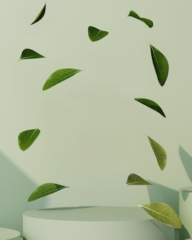 3d rendering of green background for product presentation. podium with leaves.