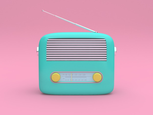 3d rendering green cartoon radio set on minimal pink background technology concept