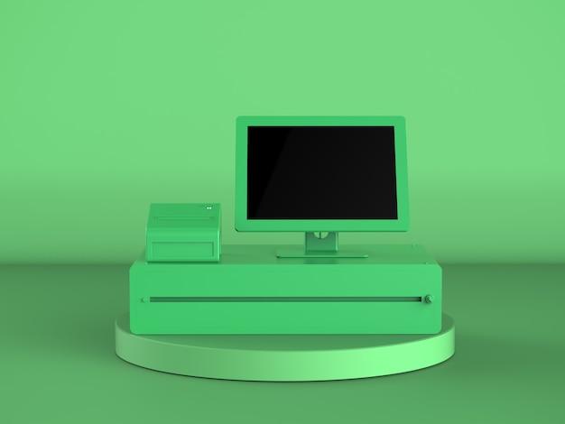 3d визуализация зеленый кассир или кассовый аппарат на зеленом фоне