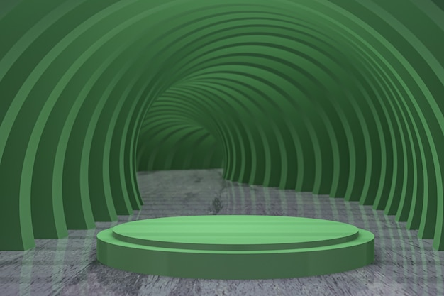 3dレンダリング、緑色の円形表彰台