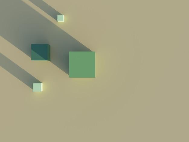 3d-рендеринг зеленого куба и тени на коричневом фоне
