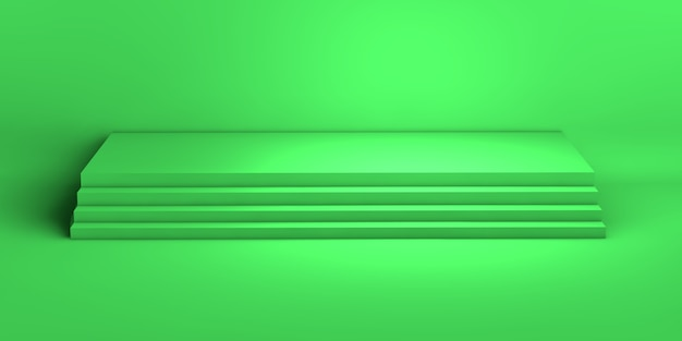 3d rendering of a green geometric background for commercial advertising