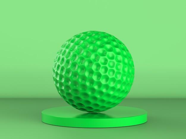 3d рендеринг зеленый мяч для гольфа на зеленом фоне