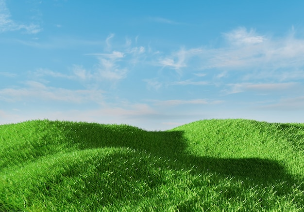 3d rendering. green grass field over blue sky background. nature landscape.