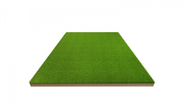 3d rendering of green grass field isolated.
