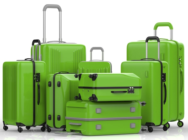 3d rendering green hard case luggages on white background