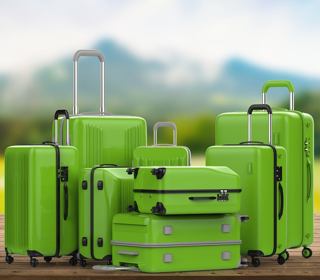3d rendering green hard case luggages with nature landscape background