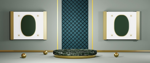 3d rendering of green marble podium for displaying products in a gray room decorated with gold stripes background. mockup for show product.