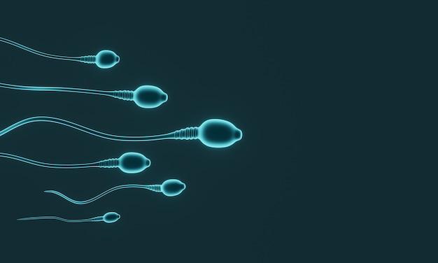 3d rendering.  green microscopic sperm.