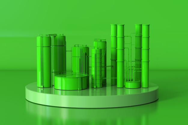 3d rendering green oil refinery plant on green background