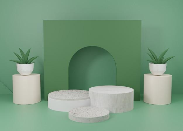 3d 렌더링 녹색 파스텔 디스플레이 연단 제품 스탠드