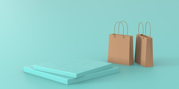 3d rendering green pastel podium for product