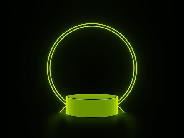 3d rendering green podium on black background.