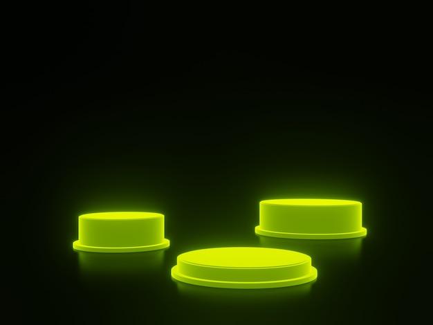 3d 렌더링 검은색 바탕에 녹색 연단입니다.