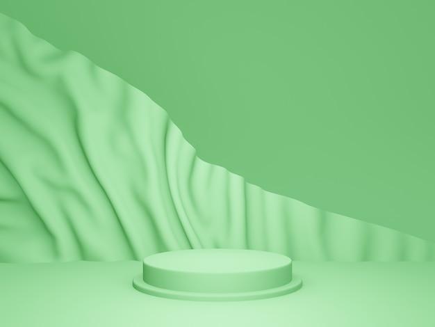 3d 렌더링. 파문이 배경으로 녹색 연단
