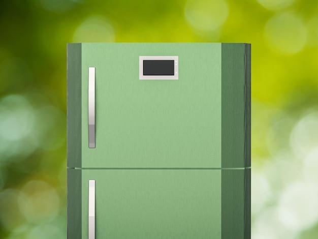 緑の背景に緑の冷蔵庫を3dレンダリング