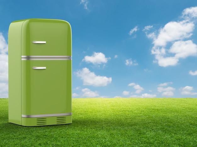 緑の野原と青空に緑の冷蔵庫を3dレンダリング