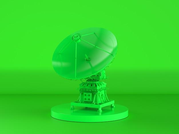 녹색 배경에 3d 렌더링 녹색 위성 접시