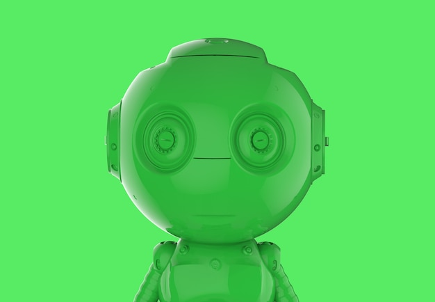 3d rendering green single color ai robot on green background
