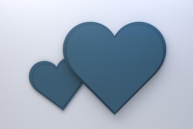 3d рендеринг дизайн поздравительных открыток, голубые сердца