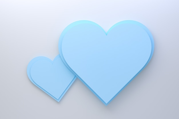 3d rendering greeting card design, cyan hearts with lettering postcard