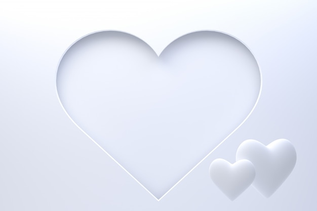 3d rendering greeting card design, white hearts with lettering postcard. background of love for happy valentine's day or love mom greeting card design.