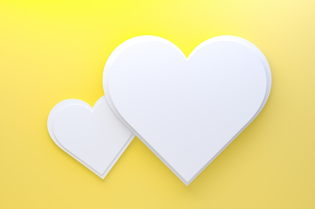 3d rendering greeting card design, yellow hearts with lettering postcard