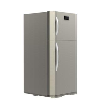 3d rendering grey new fridge isolated on white