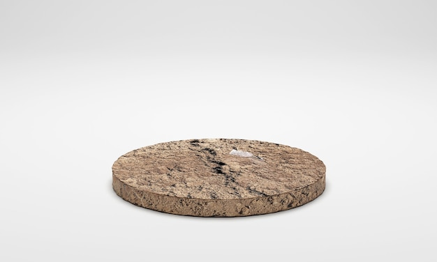 3d rendering. ground soil podium isolated on white background.