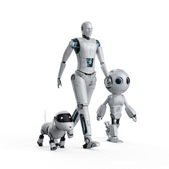 Группа роботов автоматизации 3d-рендеринга на белом фоне