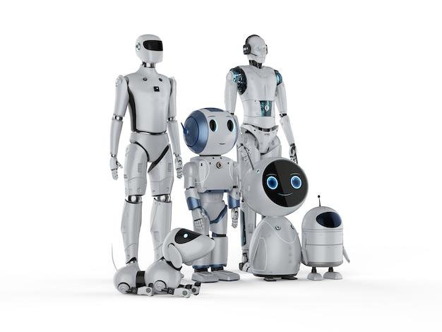 3d-рендеринг группы роботов автоматизации или роботов-помощников на белом фоне