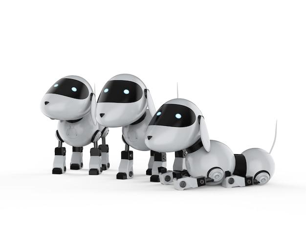 3d-рендеринг группы собак-роботов на белом фоне
