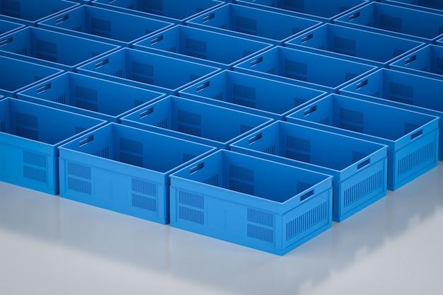 空の青いプラスチックの木枠の3dレンダリンググループ