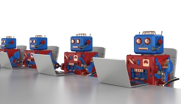 3d 렌더링 로봇 그룹이 랩톱 컴퓨터에서 작업하고 있습니다.