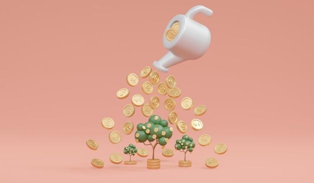 돈 투자 성장의 냄비 개념에서 동전으로 돈 나무의 3d 렌더링 성장