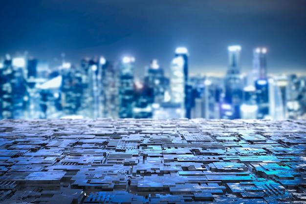 都市景観の背景にグランジ金属床をレンダリングする3d