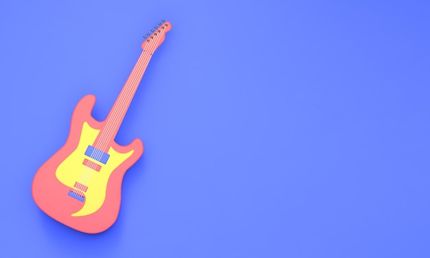 3d rendering guitar on a blue background