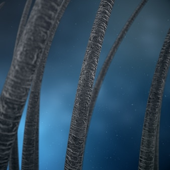 3d rendering hair care. treatment and care of hair. hair under microscopic close-up view.