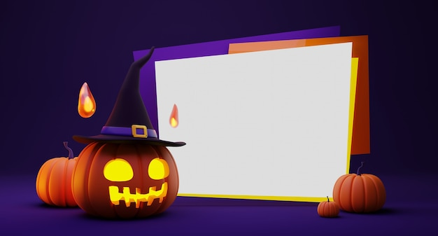 3d rendering of halloween pumpkin head lantern wearing witch hat and fireball spirit decoration and blank banner on purple