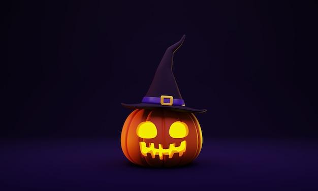 3d rendering of halloween pumpkin head lantern with a witch hat decoration on dark