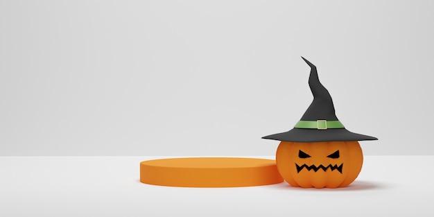 3d-рендеринг. хэллоуин тыква в шляпе ведьмы с подиумом цилиндра для демонстрации продукта. абстрактная минимальная сцена для фона хэллоуина