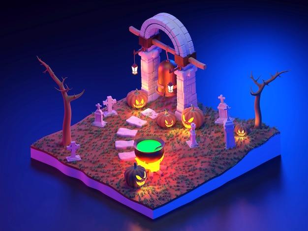 3d rendering halloween scene isometric.