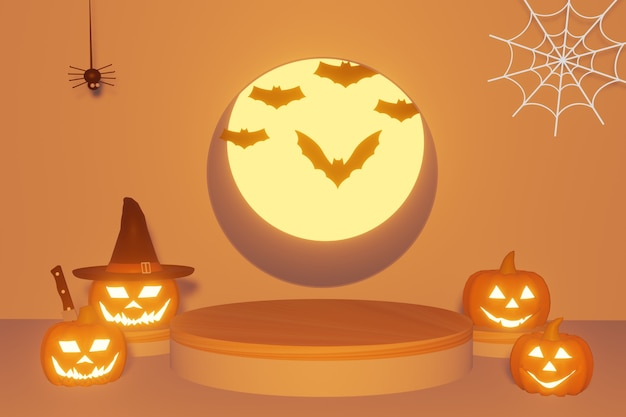 3d rendering of halloweenpodium for celebrate festival and autumn