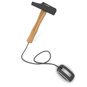 3d rendering of a hammer connected to a computer mouse