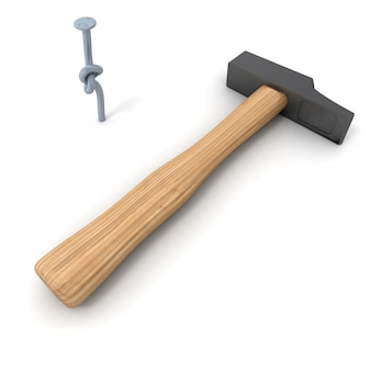 3d rendering of a hammer with a knotted nail on a white background