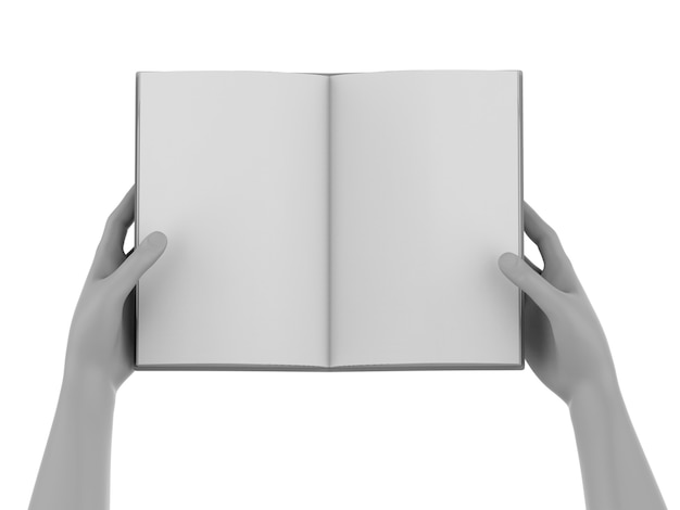 3d rendering hand hold blank pages notebook
